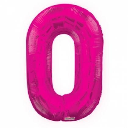 """Шар цифра """"0"""" фуксия 90 см."""