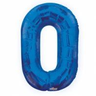 """Шар цифра """"0"""" синяя 90 см."""