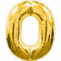 """Шар цифра """"0"""" золото 90 см."""