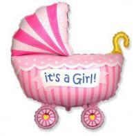 """Фигурный шар """"Коляска для девочки""""."""