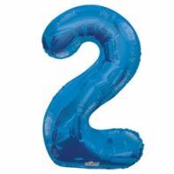 """Шар цифра """"2"""" синяя 90 см."""