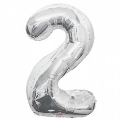 """Шар цифра """"2"""" серебро 90 см."""