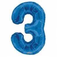 """Шар цифра """"3"""" синяя 90 см."""