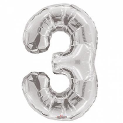 """Шар цифра """"3"""" серебро 90 см."""