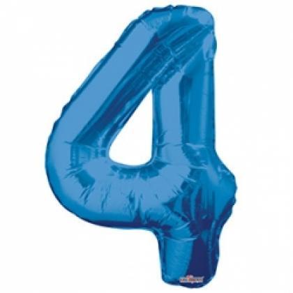 """Шар цифра """"4"""" синяя 90 см."""