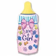 """Фигурный шар """"Бутылочка для девочки""""."""