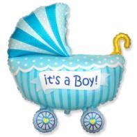 """Фигурный шар """"Коляска для мальчика""""."""