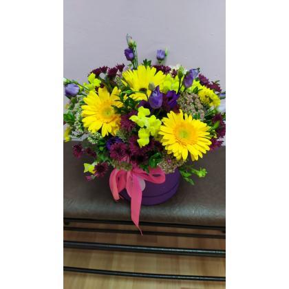 """Букет цветов """"В шляпной коробке"""""""