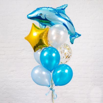 """Букет из шаров """"Дельфин""""."""