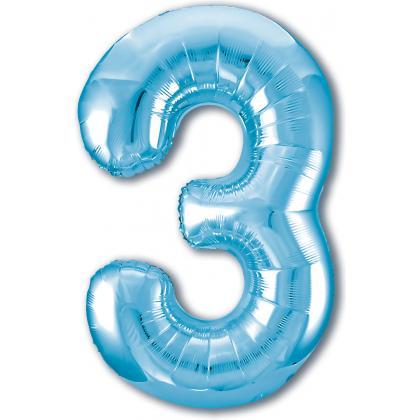 Цифра 3 голубая
