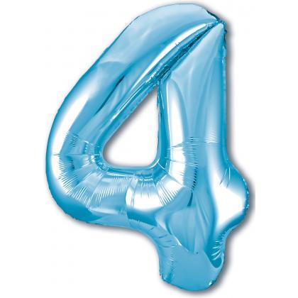 Цифра 4 голубая