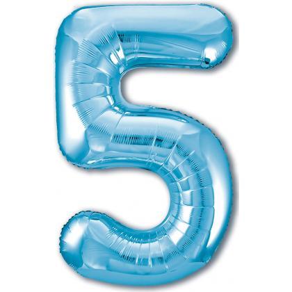 Цифра 5 голубая
