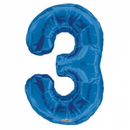 Цифра 3 синяя