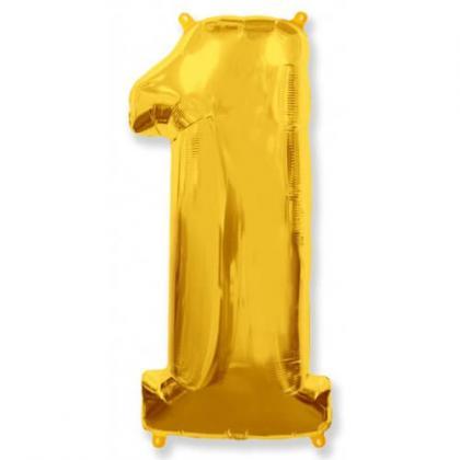 """Шар цифра """"1"""" золото 90 см."""